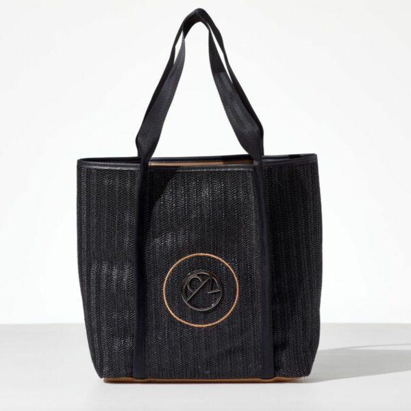 Lady Black Straw Tote bag από ψάθα σε μαύρο χρώμα