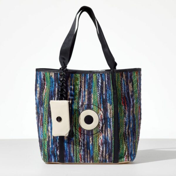 Rainbow Lady Tote bag από δερματίνη σε στυλ κουρελού και σχέδιο μάτι