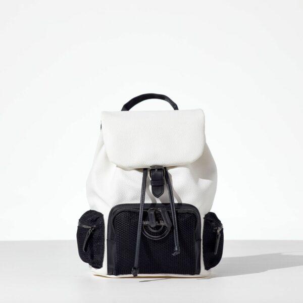 Mr. White Back pack με καπάκι από δερματίνη σε άσπρο χρώμα