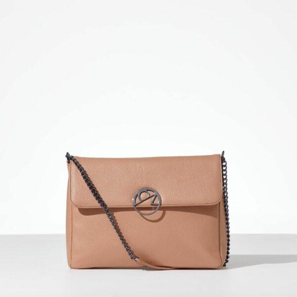 Porcelain Leather Bag δερμάτινη γυναικεία τσάντα με καπάκι real δέρμα
