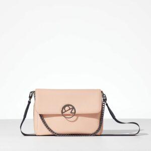 Peach Mini Bag γυναικεία τσάντα με καπάκι από δερματίνη