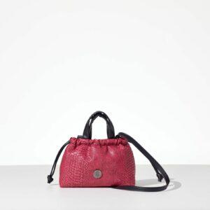 Pink Mini Cloud Bag γυναικεία τσάντα χειρός από κροκό δερματίνη φούξια