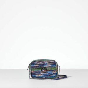 Mrs Rainbow mini bag με αλυσίδα από δερματίνη σε στυλ κουρελού